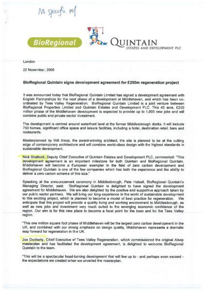 thumbnail of Middlehaven press release BioRegional Quintain